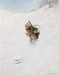 en jæger på vej i sneen by karl johannes andreas adam dørnberger
