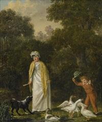 ett fruentimmer och hennes son med gäss by pehr hilleström