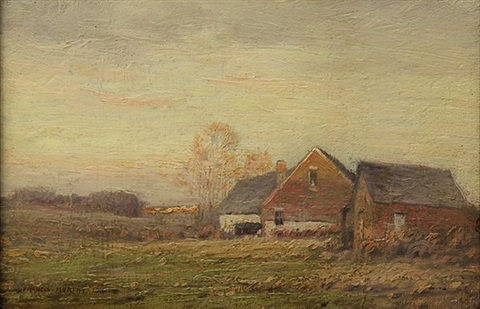 barns at sunset by john francis murphy