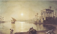 twilight along the nile at luxor by fortunato ariolla