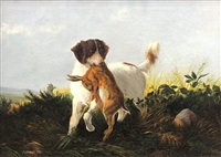 hunting dog with rabbit by alexander pope