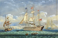 90 gun british ship in cork harbor by richard peterson atkinson