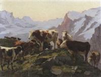 kuhherde auf alp bei abendstimmung by edouard-louis-auguste metton