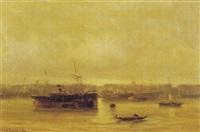 schiffe vor rotterdam by gerard van der laan