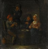 interiör med kortspelare by marten heemskerck van der heck