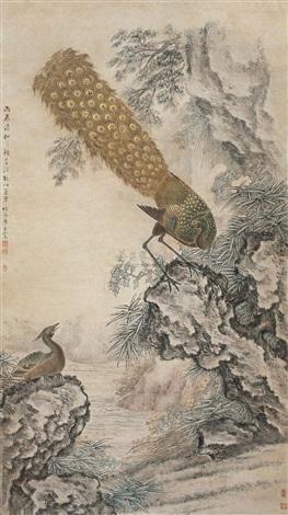 peacock and rock by liang ji