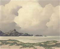 the incoming storm (+ a view from the marshes, autumn; pair) by andre de lievin