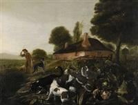 landskap med gård och hundar by adriaen beeldemaker
