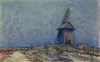 landscape with windmill by nicolas gloutchenko