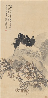 粉桃八哥图 (crows on rock) by ren bonian