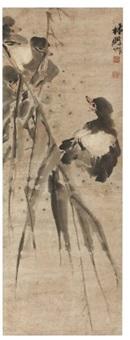 deux canetons nagent sous des branches de roseaux by lin peng