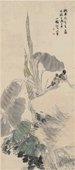 蕉石双禽图 (birds under musa basjoo leaf) by ren bonian