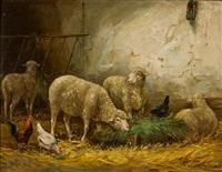 stall mit schafen und hühnern by emile justin merlot