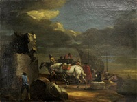figures and horses at the dock by philips wouwerman