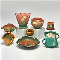 eight pieces including peony two-handled tray by roseville