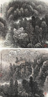 山居图 (两帧) (landscape) (2 works) by liu shumin