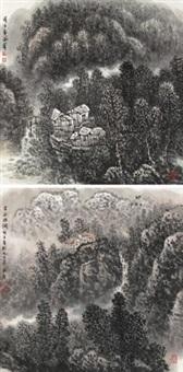 山居图 (两帧) (landscape) (2 works) by liu shumin