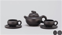 五头套壶 (bamboo shaped teapot set) (set of 3) by ji yishun