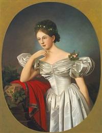 portrait einer jungen frau im brautkleid mit myrtenkranz vor abendlicher landschaft by b. raul