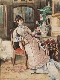 retrato de dama elegante sentada by alfredo perea y rojas