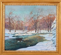 winter landscape with river by wilmer richter