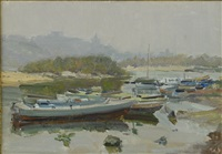 boats on the dnepr river by nicolas gloutchenko