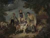 bauernfamilie bei der pause by johann georg volmar