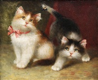 two kittens playing by henriette ronner-knip
