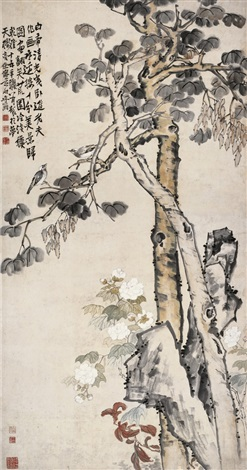 同到白头图 flower and tree by li shan