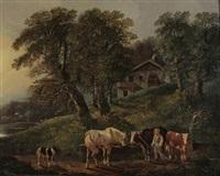 hirtenjunge mit tieren an der tränke by johann georg volmar