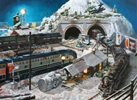 nocturnal winter scene with trains at edge of mountain tunnel, trains include new york central and missouri pacific by tony fachet