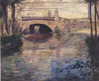 bridge over stream by guy rose
