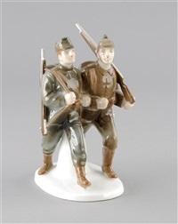 bundesgenossen - deutscher und österreichischer soldat im schnellen marsch (model k 390) by albert caasmann