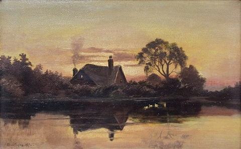 landscape with house by a pond by charles françois daubigny