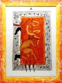 flötenspielender faun mit nymphe und stilisierter aktfigur by christian peschke