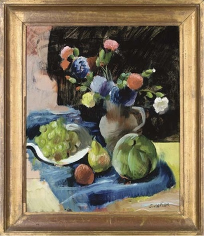 carnations in a vase with fruit to the side by servando del pilar