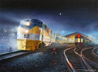pere marquette train at station, nocturanl scene by tony fachet