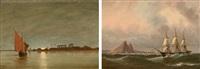 nillandschaft mit dreimaster und blick auf pyramiden (+ nillandschaft mit segelboot bei sonnenuntergang; pair) by heinrich leitner