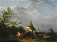 landskap med figurer och häst som slår bakut by francesco giuseppe casanova