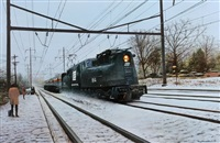 winter scene with penn central train, people waiting by tony fachet