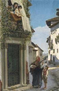 chanson d'amour. zwei spanische schönheiten auf einem balkon, den klängen wandernder musikanten lauschend by charles albert pesnelle