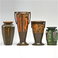 four pieces: three rosecraft vases by roseville