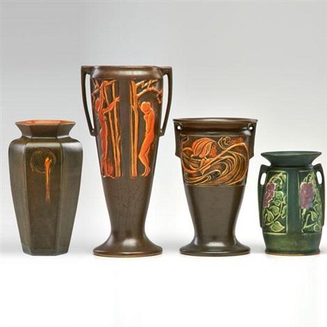 9c81de155c67 Four pieces Three Rosecraft vases by Roseville Pottery Company on artnet