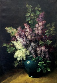 still life with lilacs in a vase by gustave emile couder