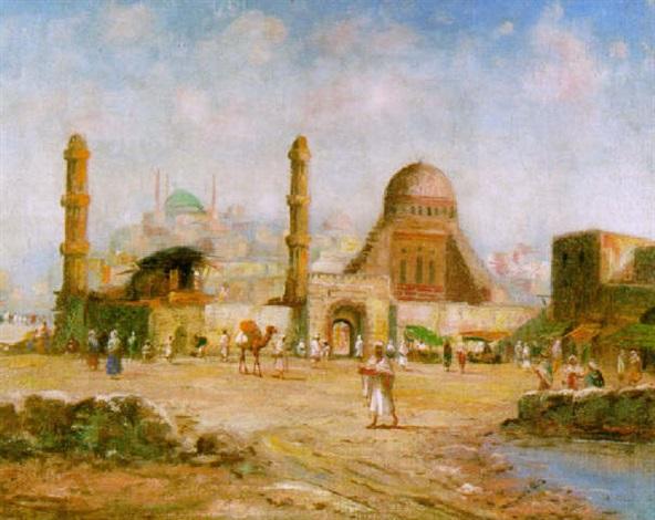 geschäftiges treiben vor den toren einer nordafrikanischen stadt by beatrix charlotte dobie