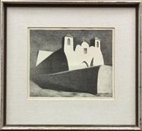 moonlight impression, ranchos church by kenneth miller adams