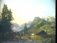 bauernidyll im berner oberland by johann rudolf huber the elder