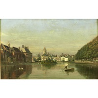 view of the hofvijver, the hague by johannes joseph destree