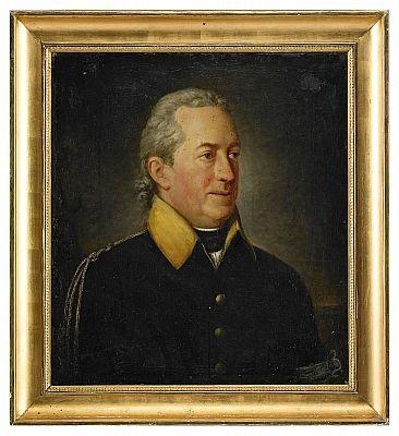 porträtt av generalmajoren greve georg adlersparre iklädd uniformsrock med armbindel by per krafft the younger