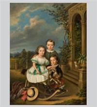 garten mit pavillon und drei kindern mit schaukelpferd by elisabeth modell